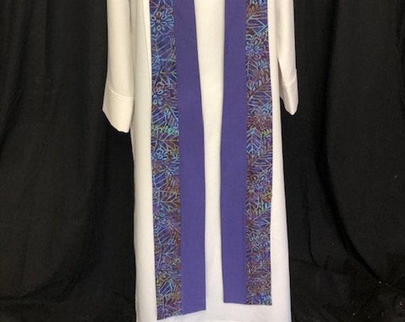 Lenten Fire Purple Clergy Stole, Lenten clergy stole, advent priest stole, purple stole, blue stole, pastor stole, lenten stole, P011