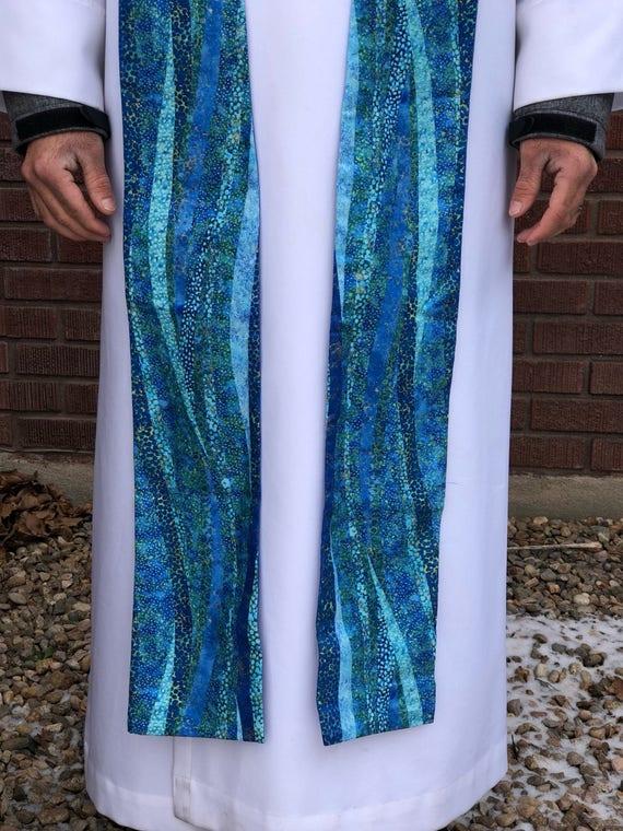 Blue Advent clergy stoles, blue clergy stole, lent stole, clergy stole, advent priest stole, purple stole, blue stole, pastor stole, B007