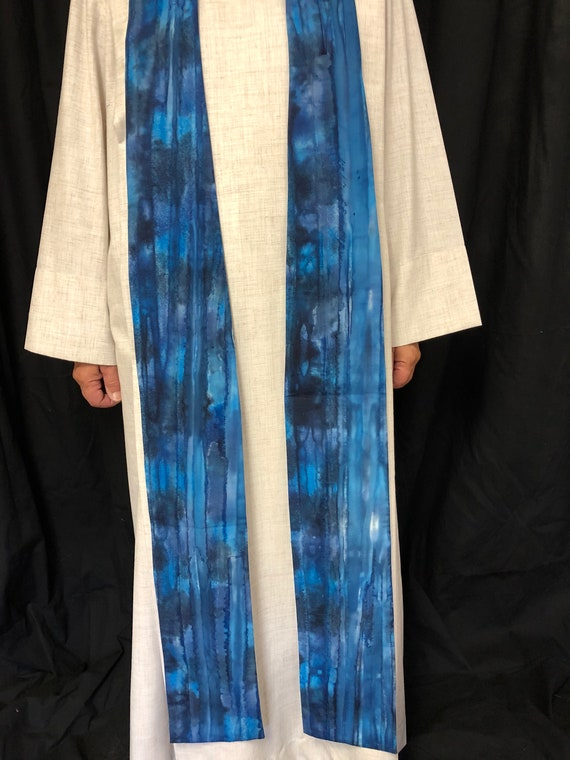 Blue Watercolor Stripped Advent clergy stoles, blue clergy stole, advent stole, clergy stole, advent priest stole, pastor stole, B004
