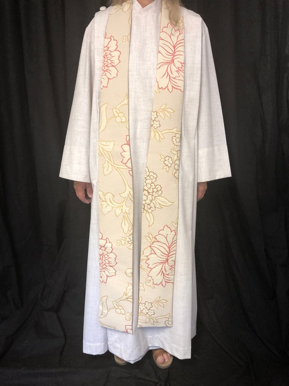 Cream Floral Easter Stole, Clergy Easter Stole, Floral Easter Stole, Pastors Easter Stole, Pink and Yellow Floral Stole, W005