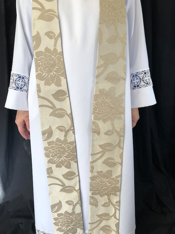 White Brocade Stole, White Luxury Priest Stole, White Clergy Stole, White Stole, Pastoral Stole, W009