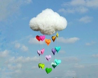 Large Dreamy Tulle Cloud Mobile With Rainbow Hearts