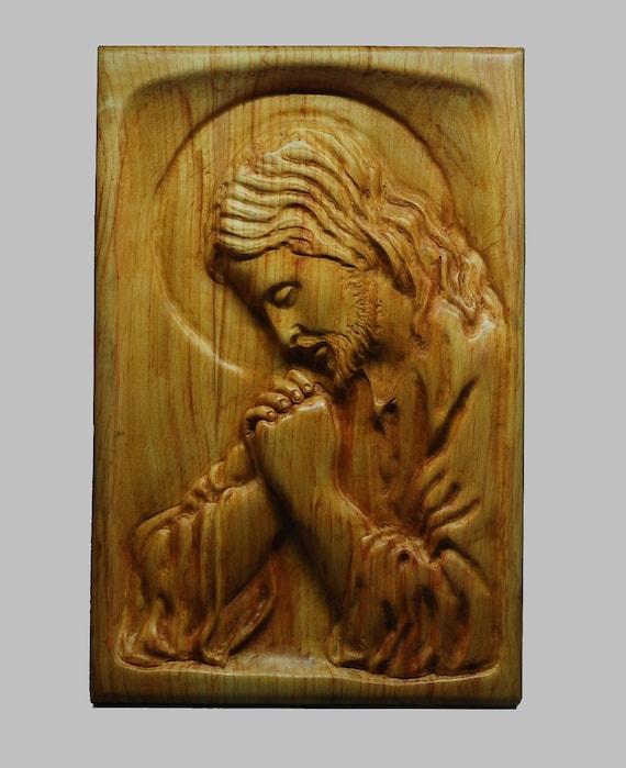 Religious wood carving handmade the jesus praying wall hanging