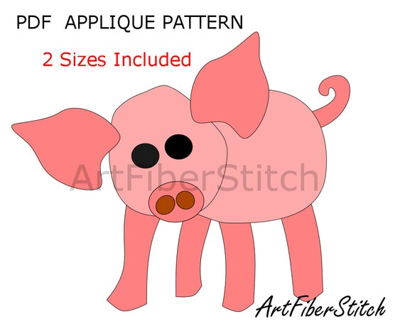 piglet pdf applique template pattern available for instant etsy