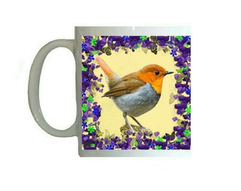 Purple Floral Flowers Japanese Robin Red Breast Bird 11oz Ceramic Coffee Mug