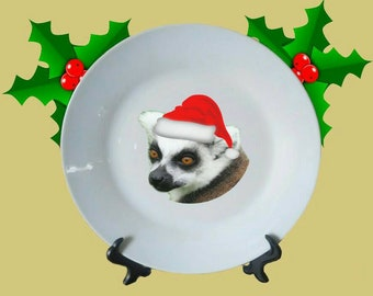 "Christmas Ring-tailed Lemur Santa White Decorative Ceramic 8"" Plate and Display Stand"