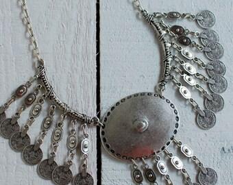 Turkish Necklace,BOHO Necklace,Bohemian,Gypsy Chic Necklace,Coin Necklace,Silver Necklace