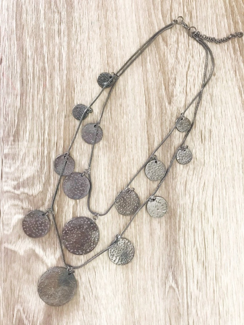 Layering Necklace,Hippie Chic The Aisha Necklace,Coin Shape Necklace,Boho Tribal Jewelry Gypsy Necklace
