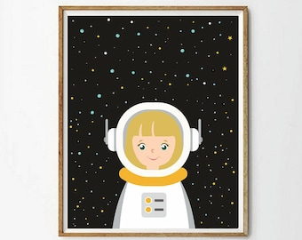 astronaut poster,Nursery astronaut print,nursery space,outer space nursery,outer space decor,outer space art,stars nursery,4 SIZES INCLUDED