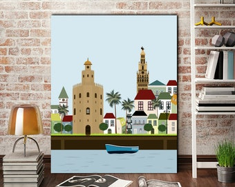 Seville print,city print,cities,cityscape,sevilla digital,printable illustration,living room art,nursery decor,Spain print,5 sizes included