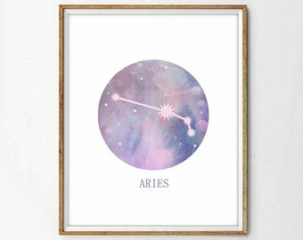 Aries Star Sign, Aries Zodiac Art Print, Astrology Gift, Aries Gifts, Horoscope Art, Constellation Poster, Horoscope Decor, 3 SIZES