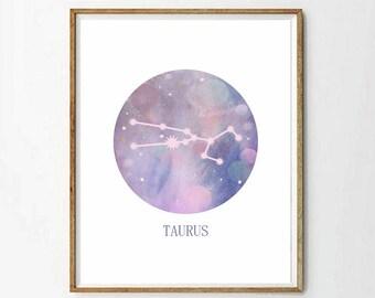 Taurus Star Sign, Taurus Zodiac Art Print, Astrology Gift, Taurus Gifts, Horoscope Art, Constellation Poster, Horoscope Decor, 3 SIZES