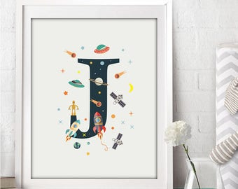 nursery alphabet, J letter print, space print, nursery space, rocket print, alphabet art, alphabet print, nursery decor, 3 SIZES INCLUDED