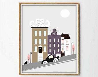 cityscape print, colourful art, car print, house print, wall art decor, wall art print, living room, poster city,city print, nursery decor