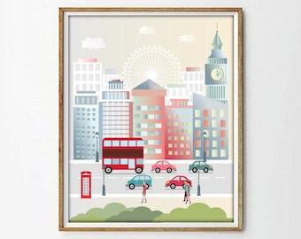 London Print City PrintCityscape Art PrintSkyline Londonmodernist Printnursery Printliving Roomwall Decor4 SIZES INCLUDED