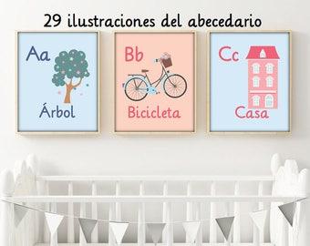 Spanish alphabet, Nursery alphabet, PRINTABLE alphabet, Alphabet illustration, nursery decor, nursery alphabet, 8x10 , kids room, kids art