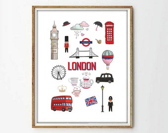 London print,london nursery print,wall art print,wall art decor,nursery decor,big ben print,modernist art,4 SIZES INCLUDED