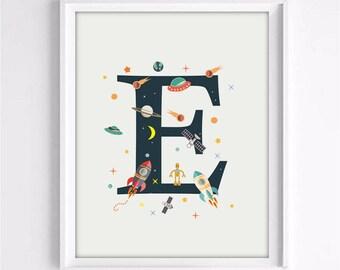 nursery alphabet, a letter print, space print, nursery space, rocket print, alphabet art, alphabet print, nursery decor, 3 SIZES INCLUDED