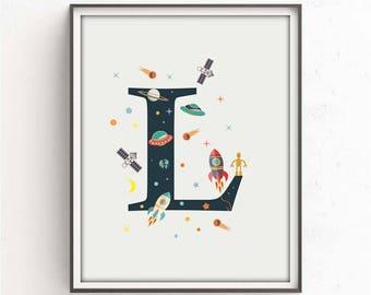 nursery alphabet, L letter print, space print, nursery space, rocket print, alphabet art, alphabet print, nursery decor, 3 SIZES INCLUDED