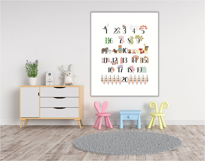 graphic regarding Printable Mural titled PRINTABLE MURAL, quantities, nursery quantities, figures print, pets print, pets quantities, nursery decor, young children area artwork, young children place