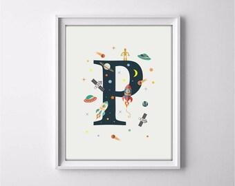 nursery alphabet, P letter print, space print, nursery space, rocket print, alphabet art, alphabet print, nursery decor, 3 SIZES INCLUDED
