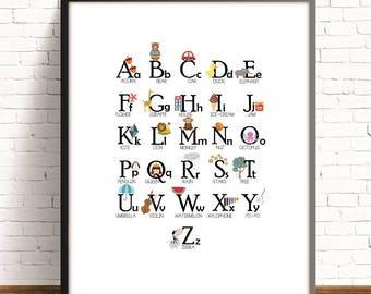 ENGLISH alphabet,abc illustration,abc printable animal print,kids art room,alphabet poster, nursery print,nursery decor,4 SIZES INCLUDED