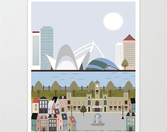 Valencia city print, valencia wall art, nursery decor, skyline valencia, 5 SIZES INCLUDED, modernist art, modernist decor, cities print