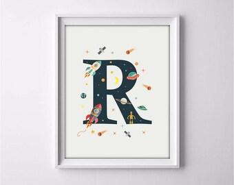 nursery alphabet, R letter print, space print, nursery space, rocket print, alphabet art, alphabet print, nursery decor, 3 SIZES INCLUDED