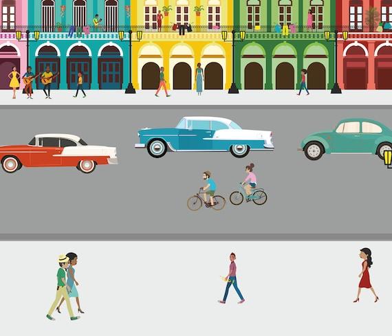 Green Taxi A3 Cuba Havana Street Car A4 Original Poster Print