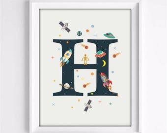 nursery decor, nursery room, nursery alphabet, space alphabet, rocket print, kids room decor, H print, Name print, 3 SIZES INCLUDED