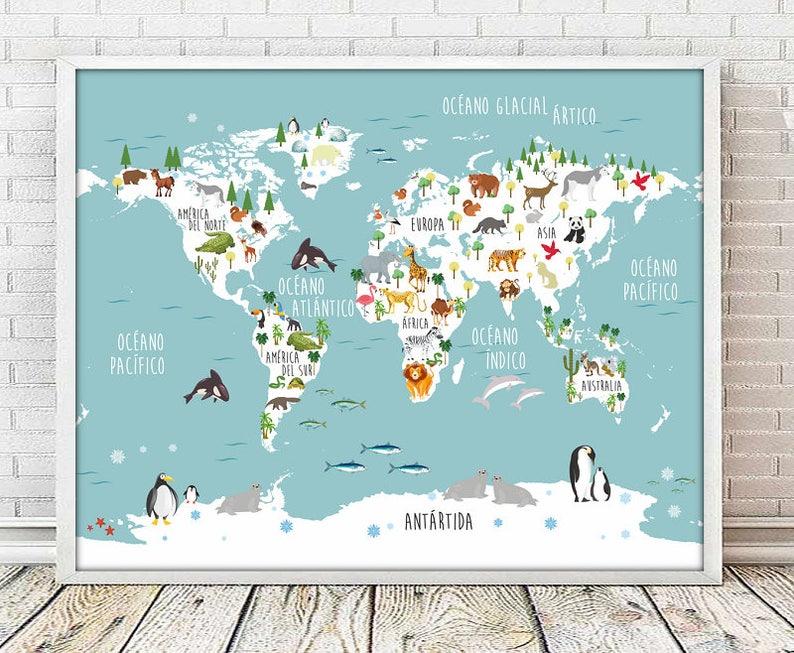 Spanish Mapamundi Spanish World Map Print Map Print Etsy