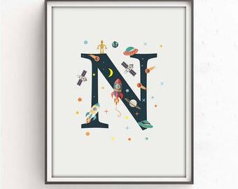 nursery alphabet, N letter print, space print, nursery space, rocket print, alphabet art, alphabet print, nursery decor, 3 SIZES INCLUDED