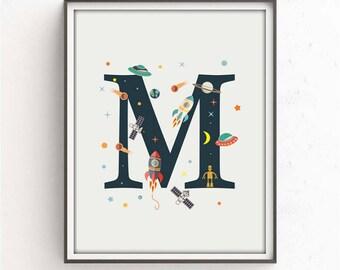 nursery alphabet, M letter print, space print, nursery space, rocket print, alphabet art, alphabet print, nursery decor, 3 SIZES INCLUDED