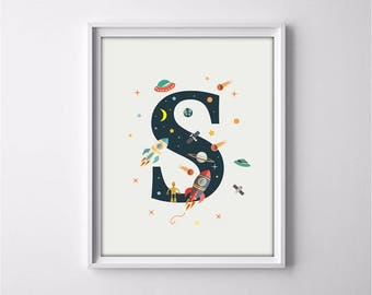 nursery alphabet, S letter print, space print, nursery space, rocket print, alphabet art, alphabet print, nursery decor, 3 SIZES INCLUDED