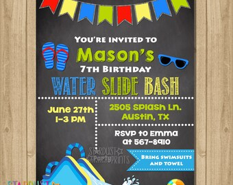 Water Slide Invitation Birthday Party