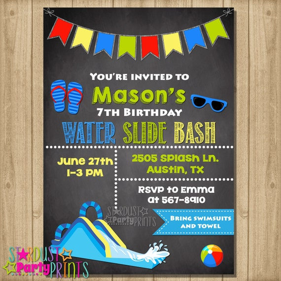 Water Slide Invitation Water Slide Birthday Invitation Water