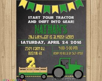 Tractor Birthday Invitation, Farmer Invitation, Farm Invitation, Farm Birthday Invitation, Green Tractor Invitation