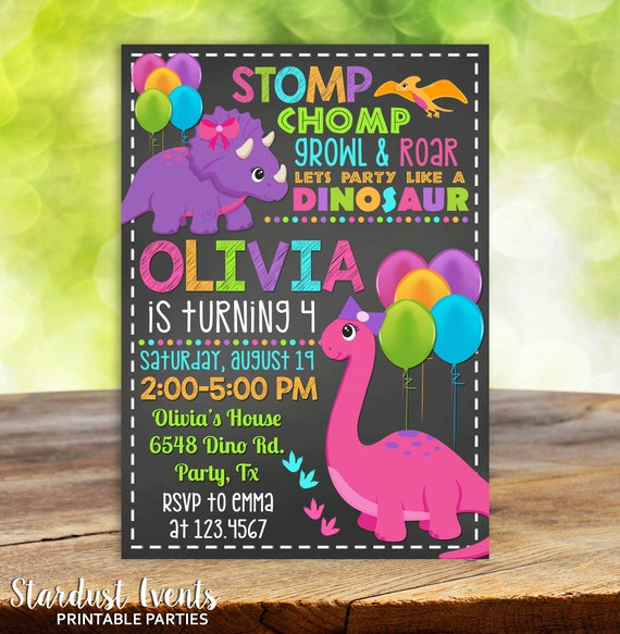 Girl Dinosaur Invitation Birthday Chalkboard