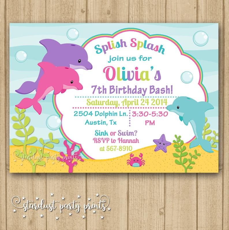 Dolphin Birthday Invitation