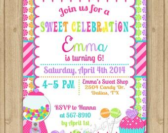 Candyland Birthday Invitation Candyland Invitation Sweet