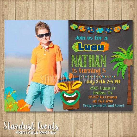 Luau Birthday Invitation Party Boy