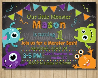 Monsters Birthday Invitation. Monster Invitation, Monster Birthday, Monster Chalkboard Invitation, Monster First Birthday