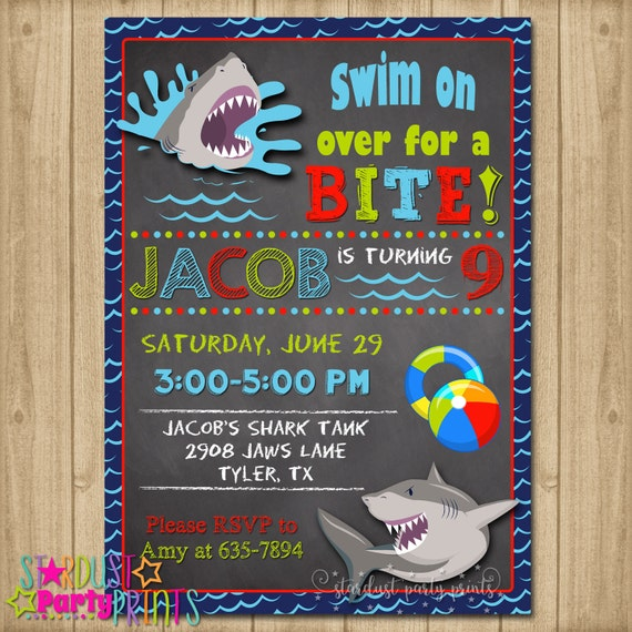 shark birthday invitation shark pool party invitation shark etsy