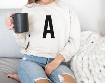 White /& Gold Glitter Custom Initials Striped Jumper Sweater Gift Present Unique Personalised On Trend Christmas Customised AS132