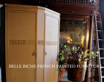 FOR SALE Striking Edwardian 'French Painted' Robe / Hall Cloak Cupboard