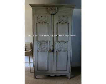 SOLD OUT ****    Capacious Original French Hand Painted Armoire