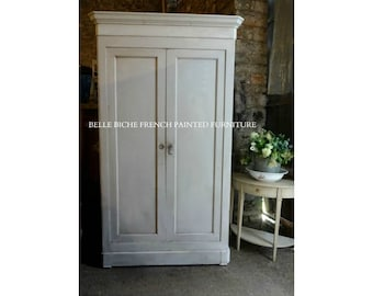 ON SALE Capacious Antique Hand Painted French Armoire Larder / Linen