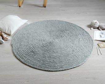 Crochet Rug RUUGY / Boho Area Rug / Chunky Crochet Carpet / Scandinavian Interior Design Style - Gray