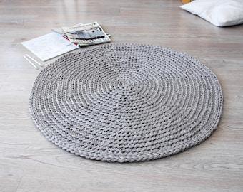 Crochet Rug RUUGY / Boho Area Rug / Chunky Crochet Carpet / Scandinavian Interior Design Style - Sand Gray