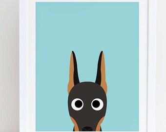 Doberman Art Print, Instant Download, Doberman Printable, Doberman Lovers Gift, Doberman Print, Doberman Decor, Dog Wall Art, Doberman